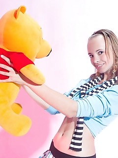 Teen stunningly photo masterpieces amour angels with a teddy bear