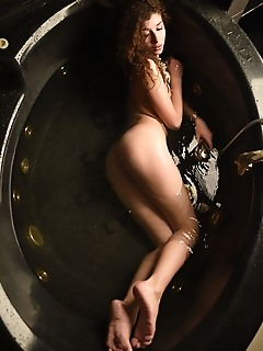 Model in jacuzzi