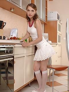 Sexy honey in kitchen