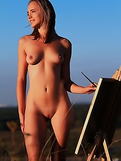 Horny beauty outdoor